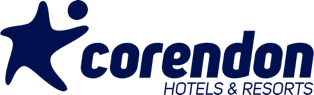The logo of Corendon hotels & resort, partner of Curacao United.
